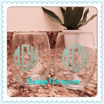 Monogrammed Wine Glass Personalized Stemless Bride Bridesmaid Sorority Glass Tumbler Vinyl Decal