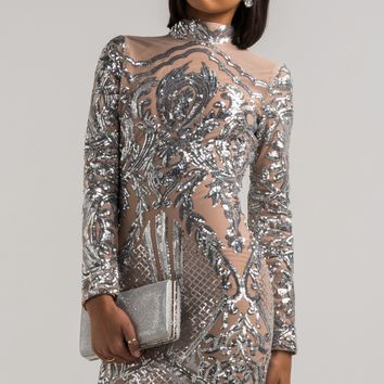 AKIRA Long Sleeve High Neck Bodycon Sequin Short Dress in Silver