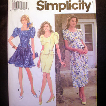 Women's Dress with Full Skirt or Pencil Skirt Misses' Size 4 Vintage Simplicity 7752 Sewing Pattern Cut