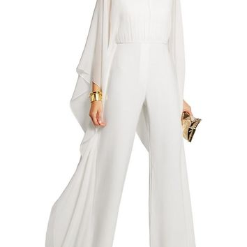 Women's White Wide Leg Chiffon Bell Sleeved Jumpsuit