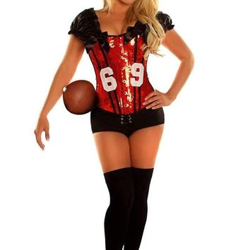 "Daisy Corset 2 PC Sexy ""Football Fantasy"" Costume Red"