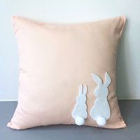 Two Cute Rabbits Pom Pom Tail Light Peach Decorative Pillow Cover. Pastel Bunnies Cushion Cover. Children Room Nursery Decor