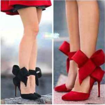Sexy women's Pointed toe big bowknot stiletto high heels frosted sandals shoes