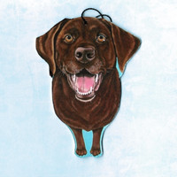 Chocolate Labrador Retriever Art - Chocolate Lab Ornament - Chocolate Lab Art - Pet Portrait - Whimsical Dog Art - Dog Breeds - Weeze Mace