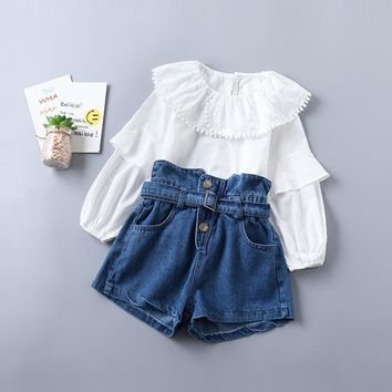 Little Girl Fashion Clothes Long Sleeve Shirt + Denim Pants