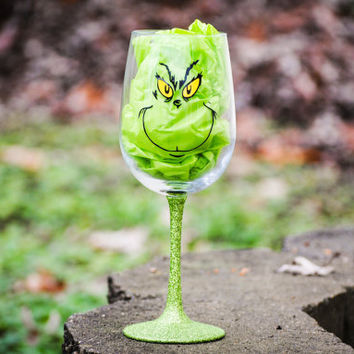 Christmas Wine glasses,The Grinch, Merry Christmas, Jingle Juice, Rudolf,