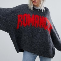Weekday Oversized Knit Sweater with Slogan Print at asos.com