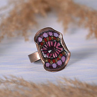 Ring handmade copper enameled jewelry women's accessories stylish original gift
