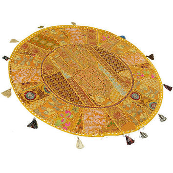 "22"" Round FLOOR PILLOW floor cushion round Patchwork Pillow, Seating Pillow, Vintage Pillow, Decorative Floor Pillow, bean bag pouf"