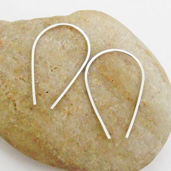 Tear Drop Open Hoop Earrings, Argentium Sterling Silver, Hand Forged