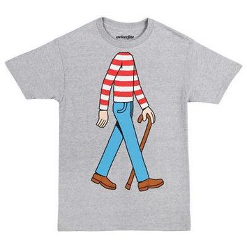 Where's Waldo? Headless Wally Costume Cosplay Licensed Adult T-Shirt - Grey