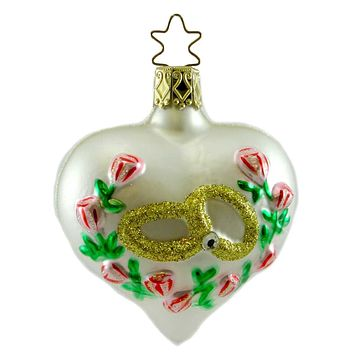 Inge Glas THE PROMISE Blown Glass Ornament Marriage Wedding Heart 107007