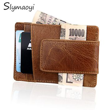 Crazy Horse Cowhide Leather Wallet Minimalist Ultrathin Mens