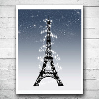 Starry sky art print Paris at nightfall Wall hanging Eiffel tower wall art Girls Bedroom art Chic apartment wall decor French poster print