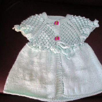 Custom Hand Knitted Baby Clothing - Dress with a FREE Headband