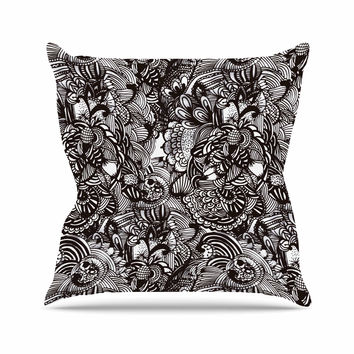 "Shirlei Patricia Muniz ""Secret Dream"" Black Abstract Outdoor Throw Pillow"