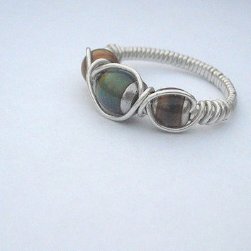 Sterling Silver Mood Ring Triple Bead Band Style by WindysDesigns