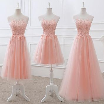 Vestido De Noiva New Blush Pink Bridesmaid Dress Long Appliques Lace Sheer Neck Lilac Elegant Wedding Prom Party Formal Gown