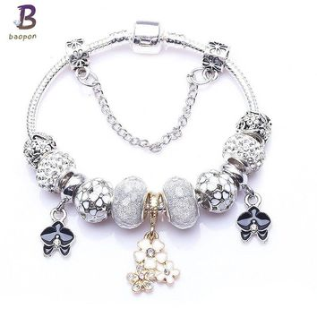 BAOPON High Quality Vintage Silver Plated Crystal Pandora Bracelet For wome Fit Snake Chain Charm Bracelet DIY Jewelry Gift