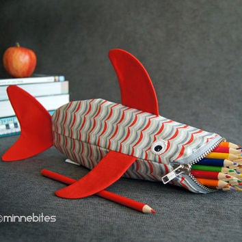 Shark Bag by MinneBites / Kindergarten Bag - Back to School - Red Fish Pencil Case - Handmade Kids School Supplies - Personalized