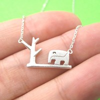 Abstract Elephant and Tree Silhouette Shaped Pendant Necklace in Silver | DOTOLY