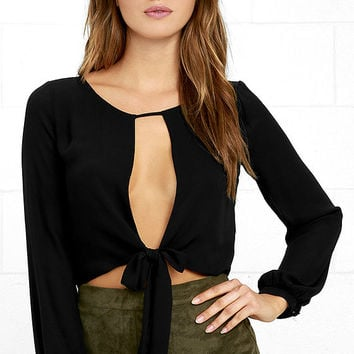 Hanging by a Moment Black Long Sleeve Crop Top