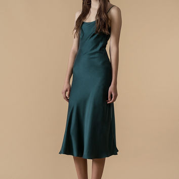 Silk Slip-on Midi Dress