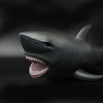 Large Size 53 Cm Shark Jaws Whale Figures Black Mosasaurus Leopard Smilodon Classic Toy Ferocious Beast Animal Model Kids Gifts