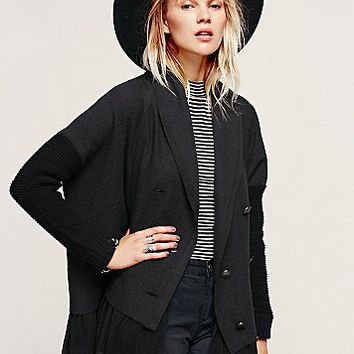 Free People Womens Tattered Hem Sweater Jacket - Black