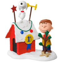 Peanuts Charlie Brown and Snoopy Decked-Out Doghouse Sound Ornament With Light