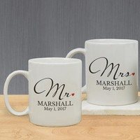 Mr and Mrs Personalized Mug Set