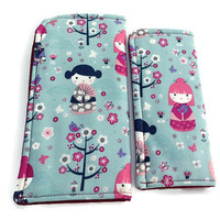 Kokeshi Girls on Soft Blue Eyeglass or Sunglass Case Protective Padded Pouch Choose your Size