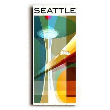 Seattle Mid-Century by Artist Cory Steffen Wood Sign