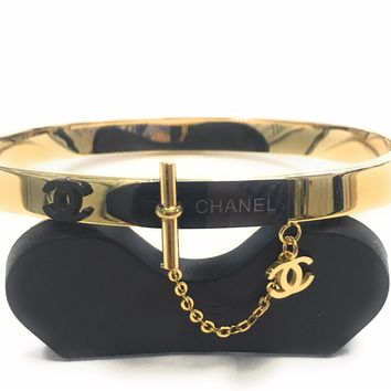 KC Luxurys CHANEL Inspired Bangle Bracelet Cuff Bracelets In (Gold) (Silver) And (Rose Gold)