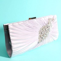 Silver Faux Satin Pleated Detail Rhinestone Studded Peacock Clutch @ Amiclubwear Handbags online store sales:Women's handbag,Cheap handbags,Oversize handbag,Leather handbag,Handbag Purse,Leather tote,Suede Bag,Shoulder bag,fashion accessories,Designer han