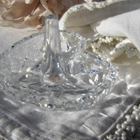 Vintage Crystal Heart Ring Holder Glass Dish