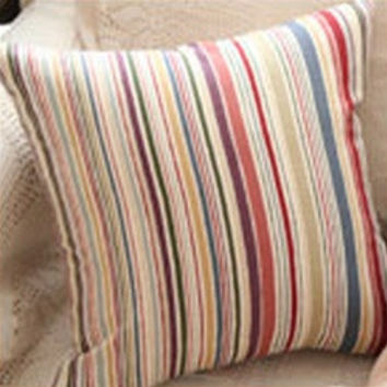 Multi Stripe Pillow Cover (Set of 2) - Brown