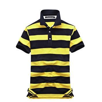 Collar Striped Polo Shirt
