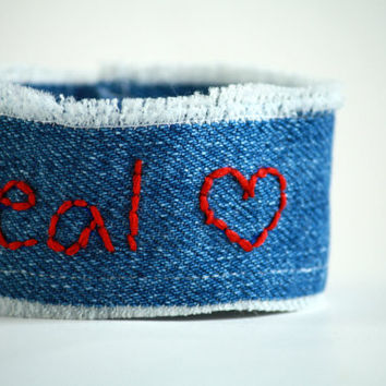 Real With Heart - Hunger Games Inspired Denim Wrist Cuff - Embroidered - Bracelet- Upcycle
