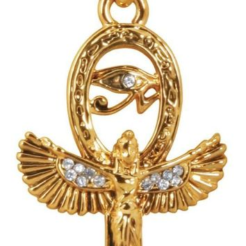 Isis Egyptian Winged Goddess Ankh Shaped Gold Tone and Rhinestone Costume Necklace