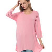 Loose Fit 3/4 Sleeve Asymmetric Hem Flared Tunic Top (CLEARANCE)