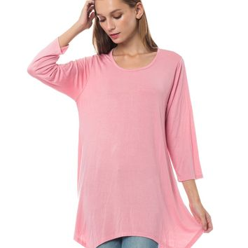 LE3NO Womens Loose Fit 3/4 Sleeve Asymmetric Hem Flared Tunic Top