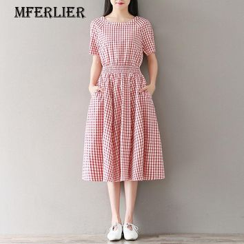 Mferlier Mori Girl Plaid Summer Dress Brief O Neck High Draped Waist Pocket Back Button Pleated Red Black Ladies Dresses