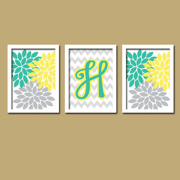 Yellow Teal Turquoise Grey Monogram Flower Burst Letter Initial Set of 3 Trio Prints Chevron Wall Decor Abstract Art Bedroom Picture Nursery