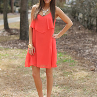 Waterfall Ruffle Dress, Coral