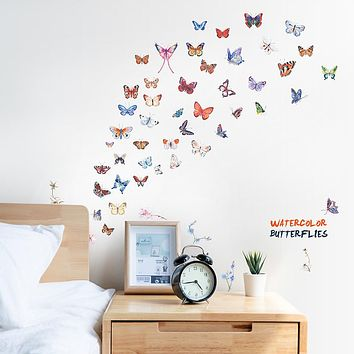 Color Butterfly Wall Stickers - Words &amp Quotes Wall Stickers / Plane Wall Stickers Characters Study Room / Office / Dining Room / Kitchen