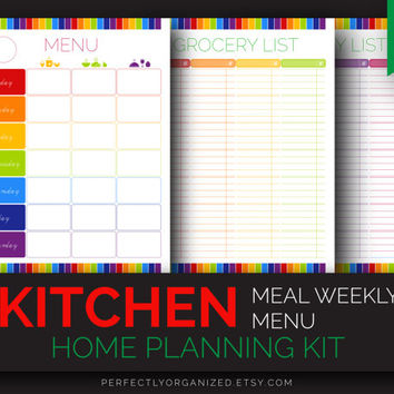 Meal Menu Planner, Meal Planning Plan, Weekly Menu, Shopping Grocery List // Colorful, Planner Organizer DIY // Household PDF Printables