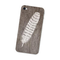 Wood Iphone Skin 4S - Gadget Decal - Iphone 4S Skin - Tribal Southwest Feather White and Brown