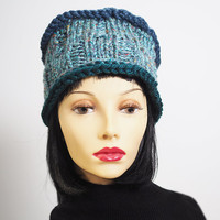 Black Friday - Green hat - Ready to ship - Blue green crochet hat - Fashion knit hat - Mint tweed hat - Chunky knit cloche - Womans knit hat