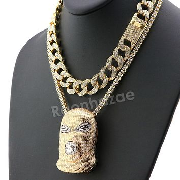 Hip Hop Iced Out Quavo Goon Mask Miami Cuban Choker Chain Tennis Necklace L56